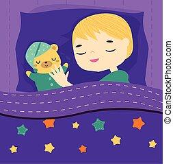 Cute boy sleeping with teddy bear. Cartoon kid in bed having sweet dreams with toy. Baby bedtime