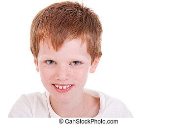 Cute Boy smiling, isolated on white, studio shot