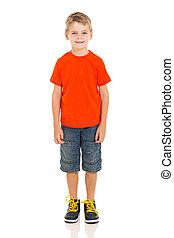 cute boy standing on white - cute little boy standing on...