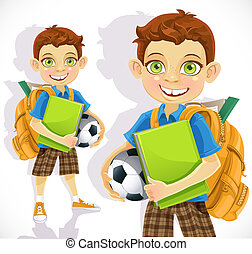 Cute boy student with a backpack and a textbook