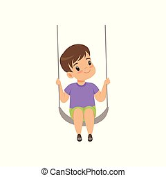 Cute boy swinging on a rope swing, little kid having fun on a swing vector Illustration on a white background
