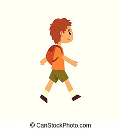 Cute boy walking with backpack vector Illustration on a white background