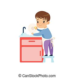 Cute Boy Washing Dishes, Kid Helping With Home Cleanup Vector Illustration