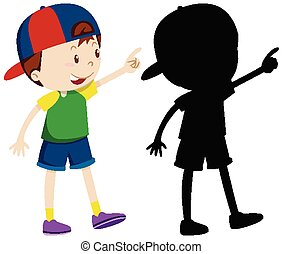 Cute boy wearing cap in colour and silhouette
