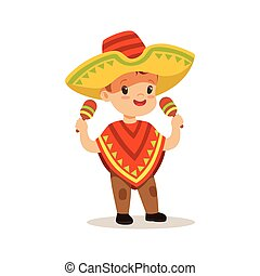 Cute boy wearing poncho and sombrero, national costume of Mexico colorful character vector Illustration