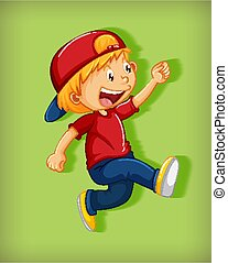 Cute boy wearing red cap with stranglehold in walking position cartoon character isolated on green background