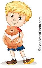 Cute boy with a fat cat