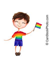Cute boy with a rainbow flag