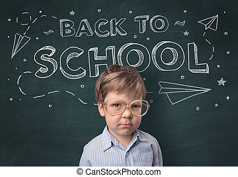 Cute boy with back to school concept