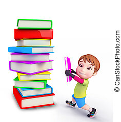 Illustration of cute boy with books