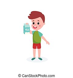 Cute boy with cardboard box of milk in his hands, healthy food for kid cartoon vector illustration