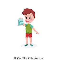 Cute boy with cardboard box of milk in his hands, healthy food for kid cartoon vector illustration