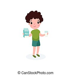 Cute boy with glass and box of milk in his hands, healthy food for kid cartoon vector illustration