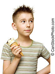 Cute boy with ice cream