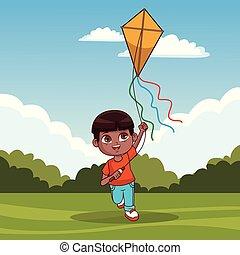 Cute boy with kite
