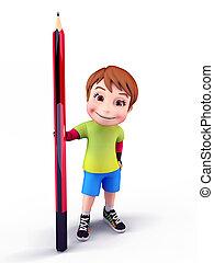 Cute boy with pencil