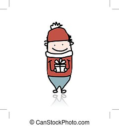 Cute boy with present box, cartoon for your design