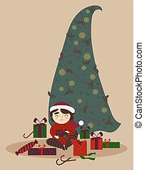 Cute boy with presents under the Christmas tree