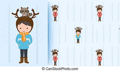 Cute boy with raccoon on blue seamless pattern illustration