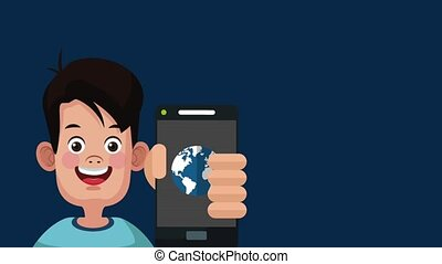Cute boy with smartphone HD animation