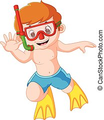 cute boy with snorkel and diving - illustration of cute boy...