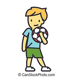 Cute boy with soccer ball, young football player concept. Line vector icon. Editable stroke. Flat linear illustration isolated on white background