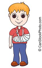 Cute boy with the broken arm. Vector cartoon illustration. ...