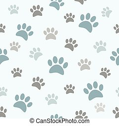 Cute boyish paw prints on seamless pattern.