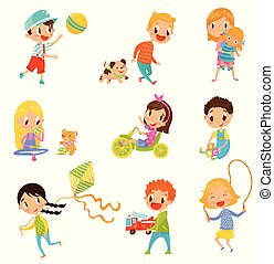 Cute boys and girls doing sports and playing set vector Illustrations on a white background