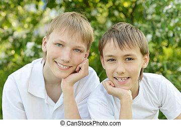 Cute boys posing