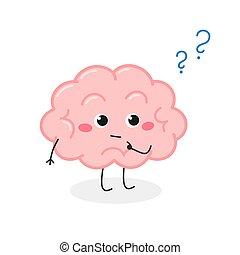 Cute brain cartoon character with question mark