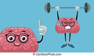 Cute brain cartoon HD animation