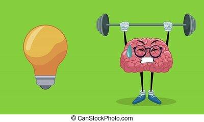Cute brain cartoon HD animation - Cute brain cartoon lifting...