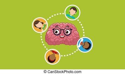 Cute brain cartoon HD animation - Cute brain cartoon with...