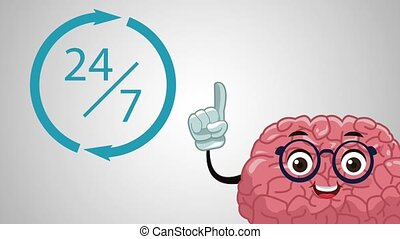 Cute brain cartoon HD animation - cute brain working...