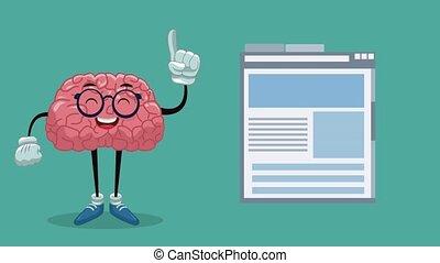 Cute brain cartoon HD animation - Funny brain cartoon...