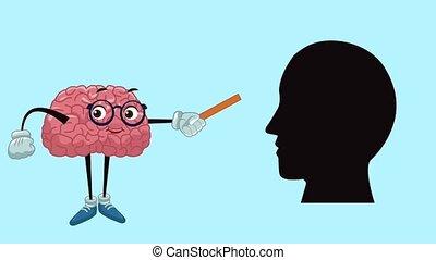 Cute brain cartoon HD animation - Funny brain teaching human...