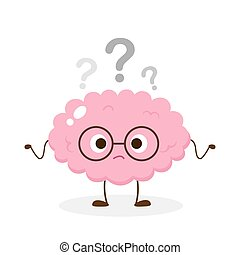 Cute brain in glasses with question mark