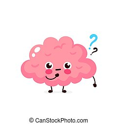 Cute brain with question mark character