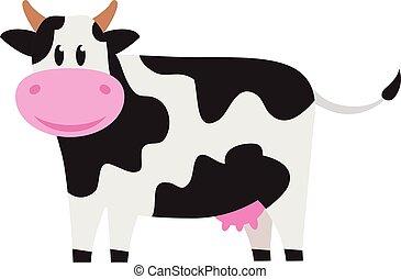 cute, branca, pretas, vaca, spots.