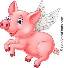 cute, branca, voando, caricatura, porca
