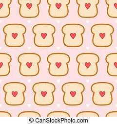 Cute bread toast with heart seamless pattern. Vector flat cartoon kawaii character illustration icon design. Toast seamless pattern concept