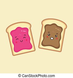 Cute Bread with Chocolate Jam and Strawberry Jam
