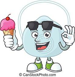 Cute breathing mask cartoon character enjoying an ice cream