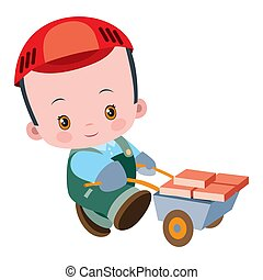 cute bricklayer, worker carrying a cart full of bricks, flat, isolated object on white background, vector illustration,