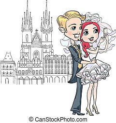 Cute bride and groom make selfie in Prague - Cute fashion...