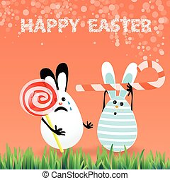 Cute bright easter illustrationin shape circle spiral white - red and stick bent upwards in hands
