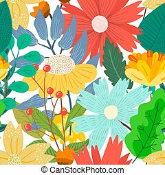 Cute bright floral pattern with mess of flowers
