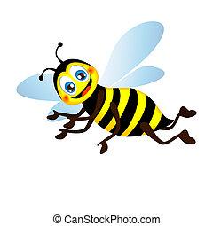 Cute bright funny bee, vector
