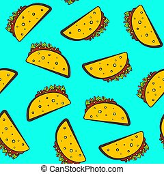 Cute bright pattern with cartoon mexican taco